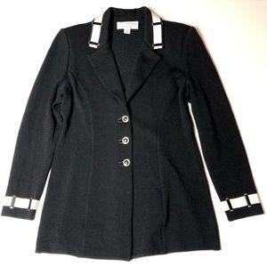 St John knit jacket black white logo buttons sz 2